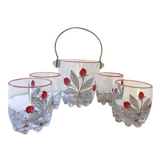 Italian Ice Bucket and Glasses - Set of 5 For Sale
