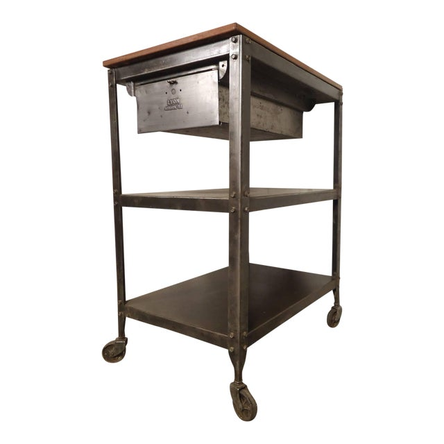 Rolling Industrial Cart By Lyon Co. w/ Finished Teak Top For Sale
