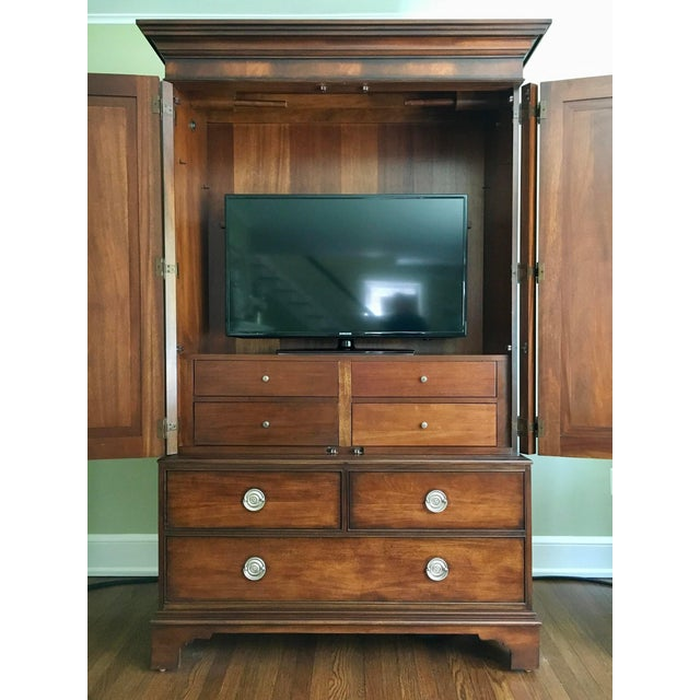 2000 - 2009 Ethan Allen Newport Collection Mahogany Armoire For Sale - Image 5 of 12
