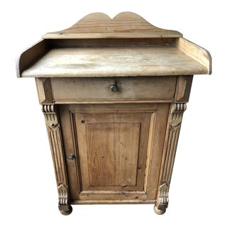 Pine Carved Appliques & Fluted Pilaster Nightstand