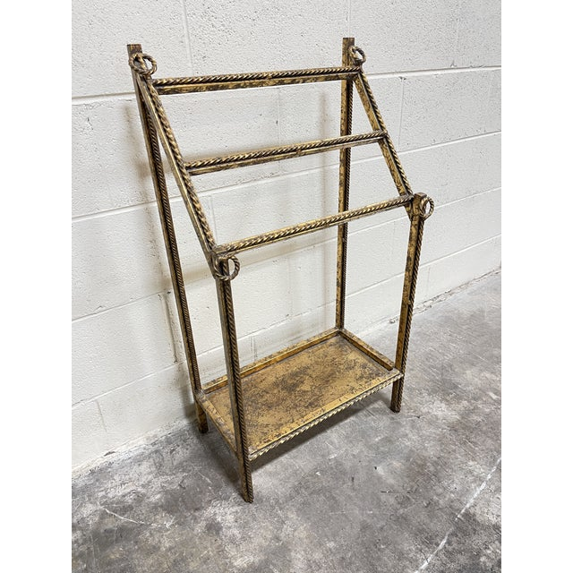 Gold Leaf Hollywood Regency Iron Towel Rack For Sale - Image 10 of 10