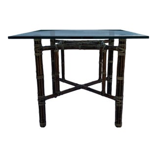 Mid-Century Modern Organic Rawhide Wrapped Bamboo Base Square Beveled Glass Top Dining Table by McGuire For Sale