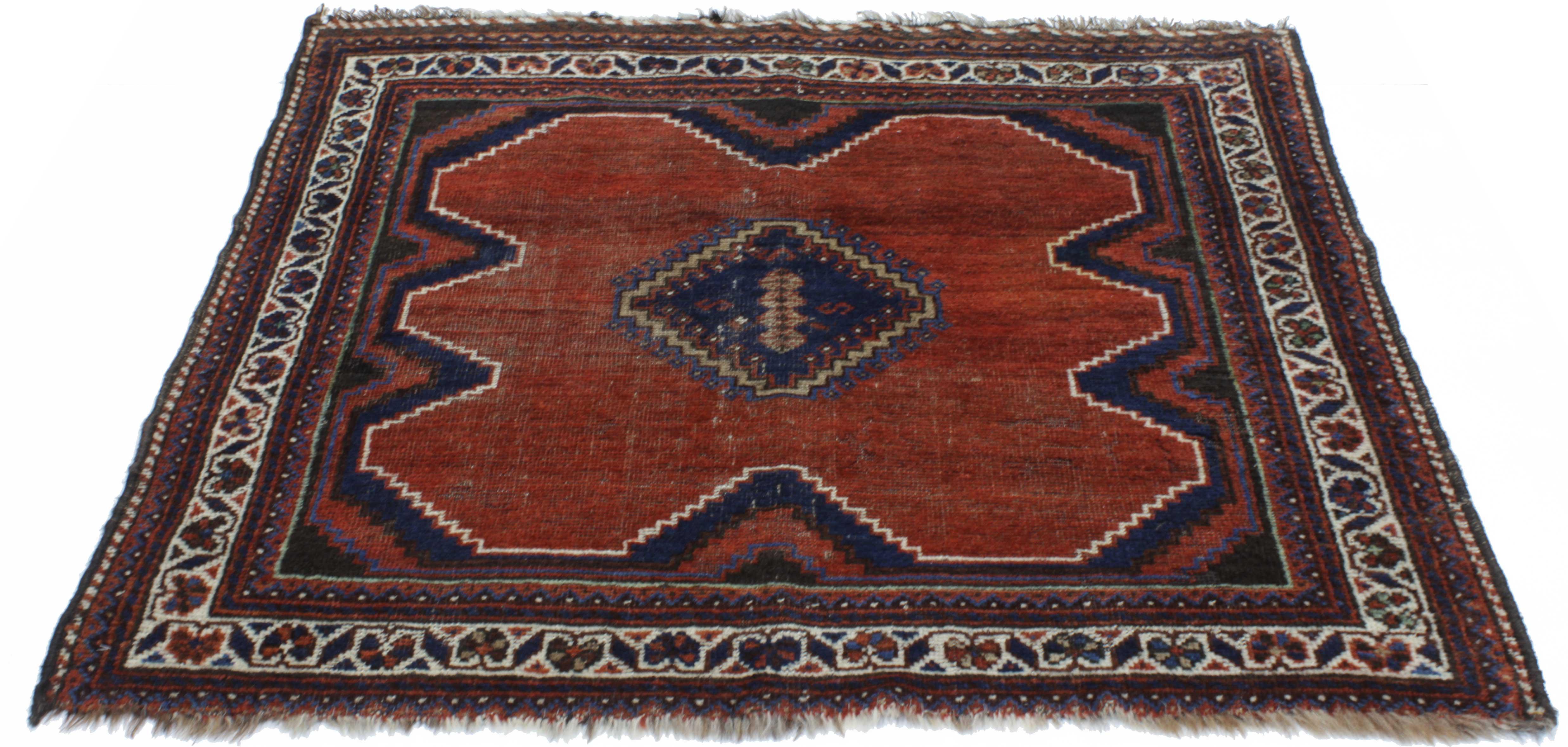 Vintage Mid Century Kurdish Persian Hand Knotted Wool Rug 3 9 4