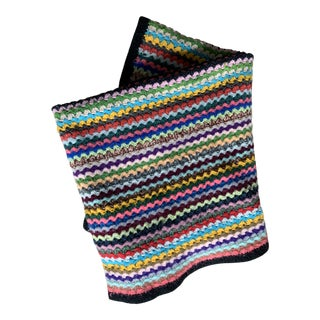 1960s Boho Chic Crocheted Afghan Throw Blanket For Sale