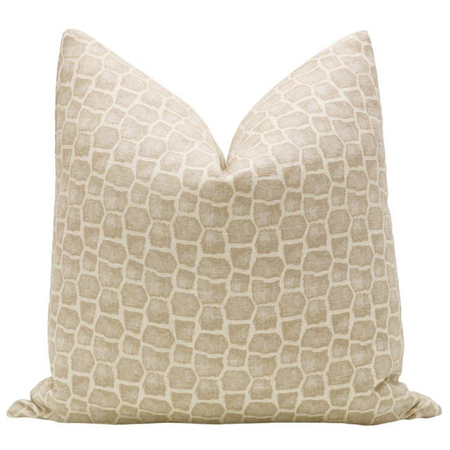 Custom-made printed linen pillow cover in the Safari. Meticulously handcrafted with serged interior seams, invisible...
