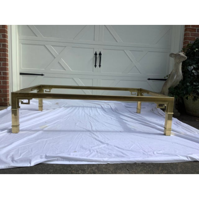 Metal Mastercraft Brass Coffee Table W/ Greek Key Design For Sale - Image 7 of 7