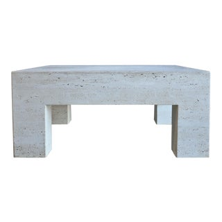 20th Century Contemporary Travertine Coffee Table For Sale