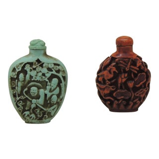 Vintage Small Pair of Carved Snuff Bottles For Sale