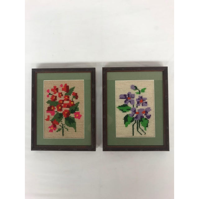 1960s Framed Pink/Purple Floral Needlepoints - A Pair For Sale - Image 5 of 5