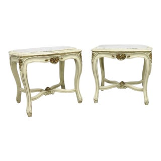 Louis XV Cream Marbletop Side Tables - a Pair
