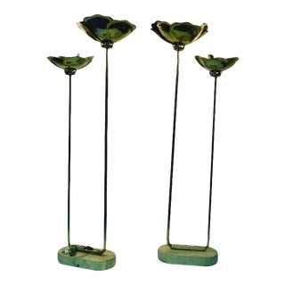 Pair of Monumental Italian Lamps by Tommaso Barbi With Travertine Bases For Sale