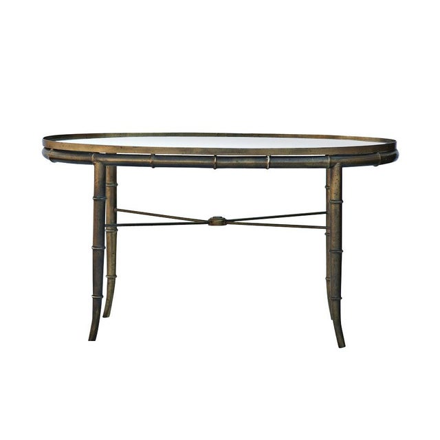 1960s Mastercraft Brass Bamboo Oval Cocktail Table For Sale - Image 5 of 5