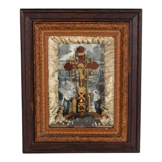 Antique Victorian Religious Shadowbox with Crucifix Scene