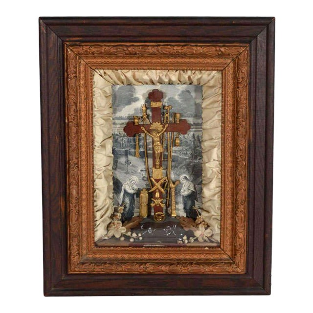 Antique Victorian Religious Shadowbox with Crucifix Scene - Image 1 of 9