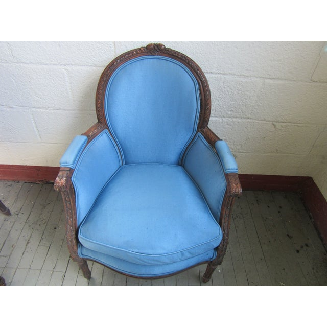 1940s Antique Petite French Blue Upholstery Carved Walnut Frame Fireside Chairs or Bergeres- a Pair For Sale - Image 10 of 13