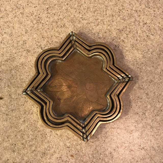 Small Brass Decorative Etched Nesting Trays - Set of 4 For Sale - Image 10 of 11