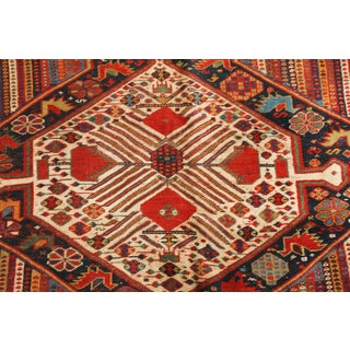 Antique Qashqai Persian Red and Beige Wool Rug - 5′1″ × 9′3″ Preview