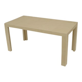 French Art Deco Style White Shagreen And Bone Trimmed Rectangular Coffee Table For Sale