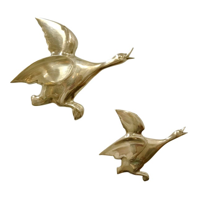 Mid 20th Century Flying Brass Geese Wall Hangings - a Pair For Sale