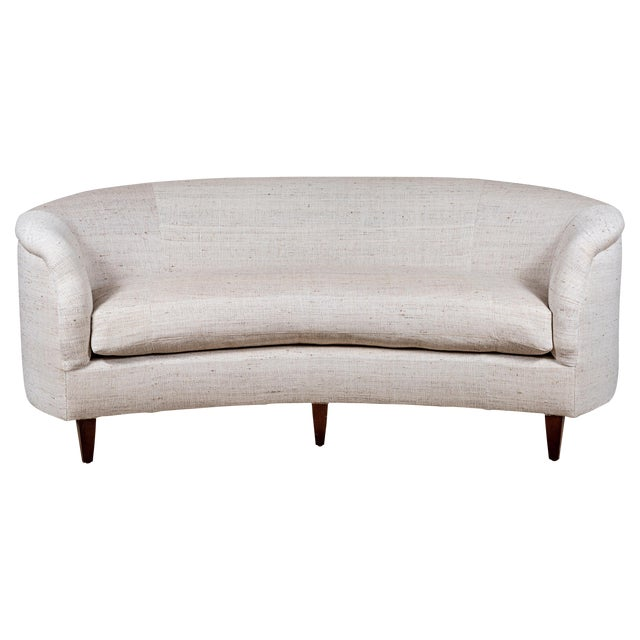 Vintage Curved Sofa With Pat McGann Workshop Upholstery Fabric For Sale