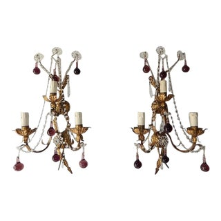 1920 French Bronze Murano Drops Crystal Prisms Amethyst Sconces For Sale