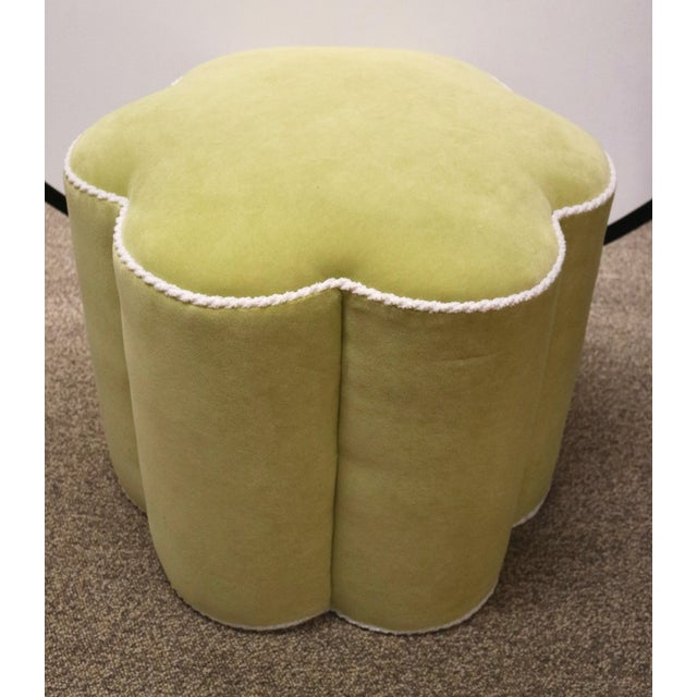 Chartreuse Custom Ottoman's, a Pair - Image 5 of 9