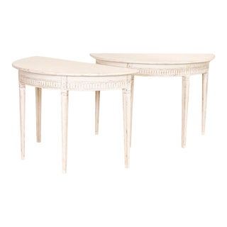 Pair, Antique Gustavian White Painted Demi Lune Tables From Sweden For Sale
