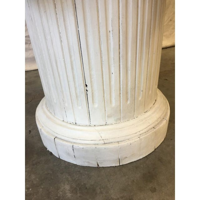 Vintage Marble Top Round Column Base Dining Table - Image 3 of 7