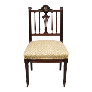 Antique French Victorian Mother of Pearl Inlaid Mahogany Parlor Side Chair For Sale