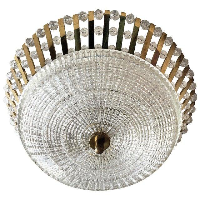 1950s Stejnar Austrian Crystal Flush Light Pendant For Sale - Image 11 of 11