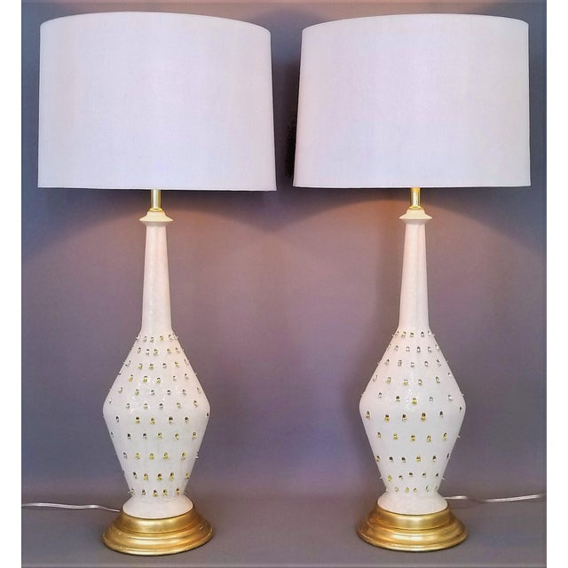 1957 Ceramic Table Lamps by Tye of California-A Pair-Restored-Gold Leaf White Brass Mid Century Modern MCM Palm Beach Boho Chic Tropical Coastal Luxe For Sale - Image 13 of 13