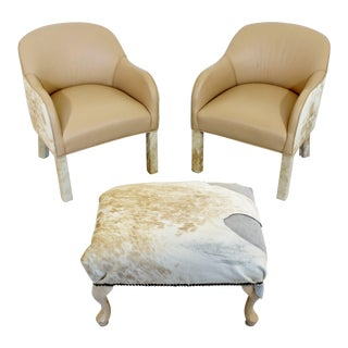 Mid-Century Modern Animal Hide Club Armchairs & Ottoman - Set of 3 For Sale