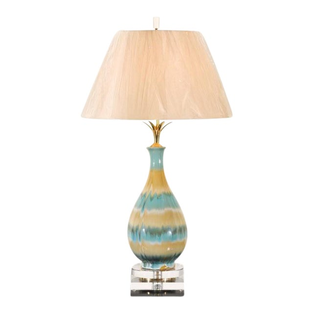 Chic Pair of Large-Scale Drip Glaze Ceramic Lamps in Caramel and Sultanabad Blue For Sale - Image 10 of 11