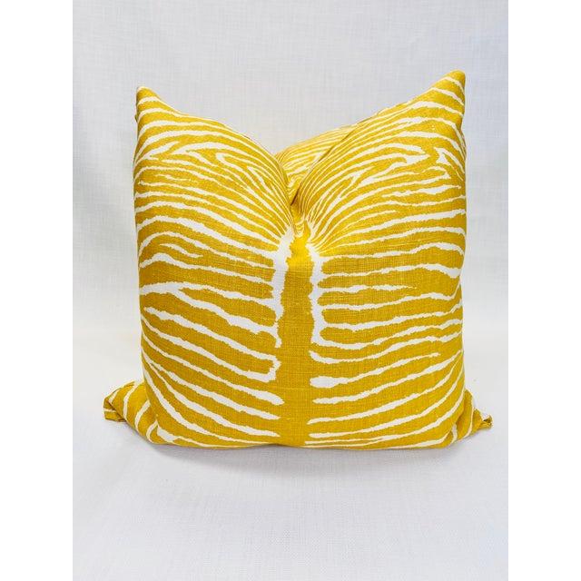 """2010s Brunschwig & Fils """"Le Zebre Saffron"""" 22"""" Pillows-A Pair For Sale - Image 5 of 5"""