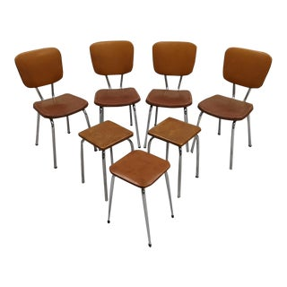 Set of 4 Chrome Brown Vinyl Mid-Century Retro Kitchen Chairs With 3 Kitchen Stools For Sale