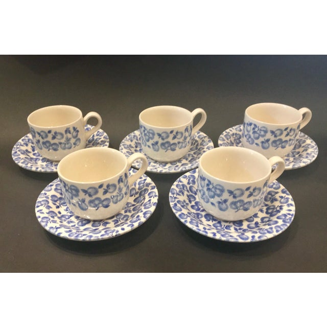 Vintage Eit Ltd. Ironstone Demitasse Cups & Matching Saucers With Blue Fruit Pattern - Set of Five - Image 2 of 8