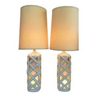 Hollywood Regency Mid Century Large Faux Bamboo Lattice Table Lamps - a Pair For Sale
