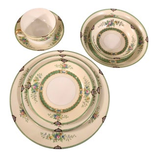 "1940's Noritake China ""Leandro"" Dinnerware 7 Piece Place Settings For Sale"