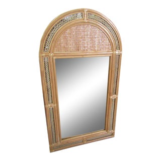 Rattan Arched Tropical Mirror, Late 20th Century For Sale
