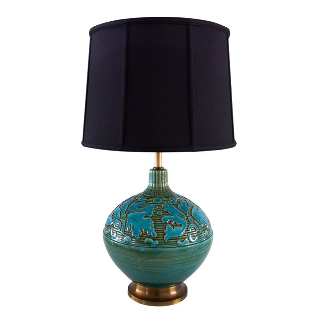 Retro Blue Green Sphere Lamps - A Pair - Image 2 of 5
