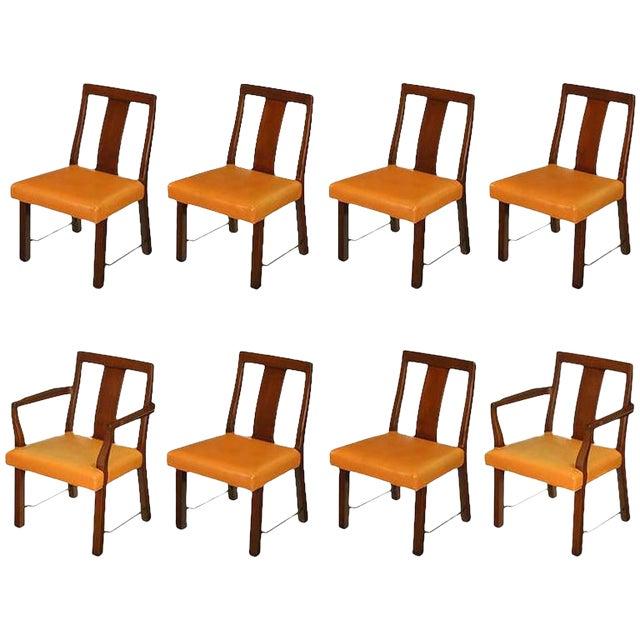 Eight Edward Wormley Mahogany, Leather and Brass Dining Chairs For Sale