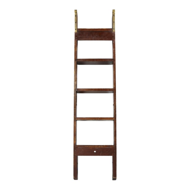 1910s Edwardian Mahogany Bed Ladder from the R.M.S Queen Mary For Sale - Image 5 of 6