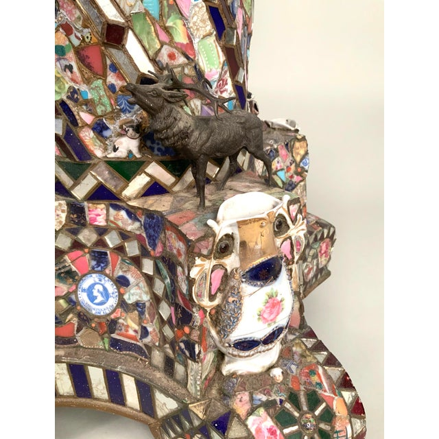 Folk Art Antique 1920s Folk Art Memory Mosaic Plant Stand For Sale - Image 3 of 13