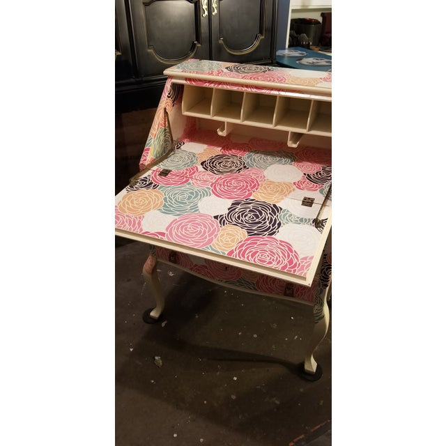 Peonies are royalty in any garden and this drop leaf, secretary desk will be the same in your home. Found in an estate...