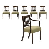 Image of 19th Century English Regency Carved Mahogany Antique Dining Chairs - Set of 6 For Sale