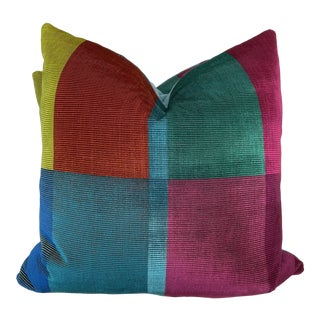 "Designers Guild ""Sarang Fuschia"" 22"" Pillows-A Pair For Sale"