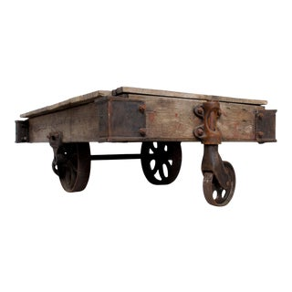 Vintage Antique Industrial Cast Iron & Wood Coffee Table Lineberry Wilkesboro Nc For Sale