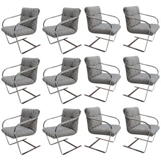 Set of Twelve Chrome Dining Chairs by Brueton For Sale