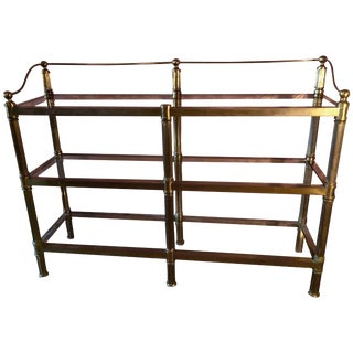 Solid Brass Three Shelf Console Display in the Manner of Neoclassical Style For Sale