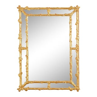 Italian Carved Gilt Wood Faux Bois Cushion Mirror For Sale